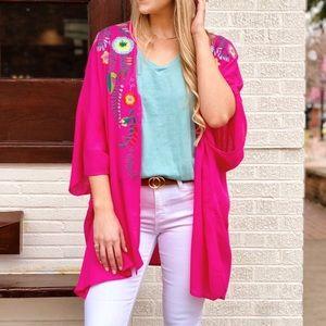 Umgee Floral Embroidered Kimono Fuchsia Pink M/L
